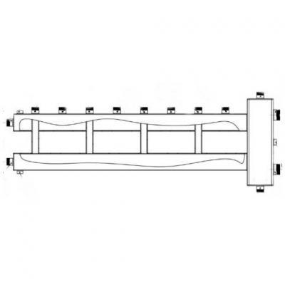 Гидрострелка с коллектором на 5 контуров (4 вверх, 1 боковой), вход 1 1/2