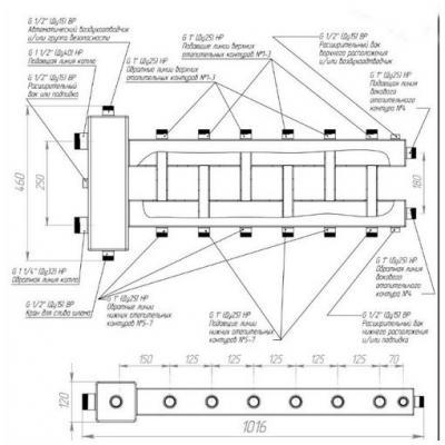 Гидрострелка с коллектором на 7 контуров (3 вниз, 3 вверх, 1 боковой), вход 1 1/2