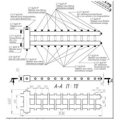 Гидрострелка с коллектором на 11 контуров из нержавеющей стали (5 вниз, 5 вверх, 1 боковой), вход 2