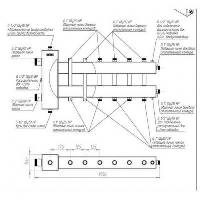 """Коллектор отопления с гидрострелкой Gidruss BMSS-250-7DU из нержавеющей стали (250 кВт, 7 контуров,  вход G 2"""" НР, выход 1'' НР Межосевое расстояние 125 мм)"""