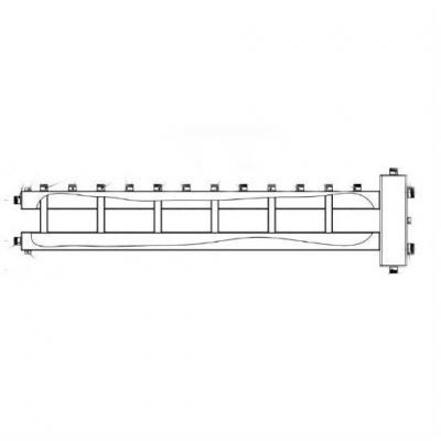 Гидрострелка с коллектором на 7 контуров (6 вверх,1 боковой), вход 2
