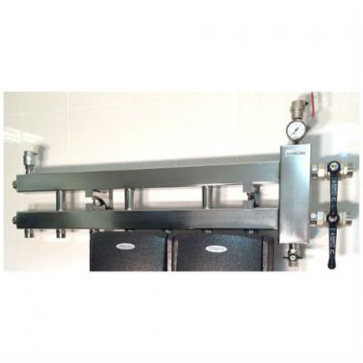 Коллектор отопления с гидрострелкой GidrussBMSS-60-4D из нержавеющей стали (до 60 кВт, 4 контура вниз вход G 1 1/4'' НР выход G 1'' НР. Межосевое расстояние 125 мм)