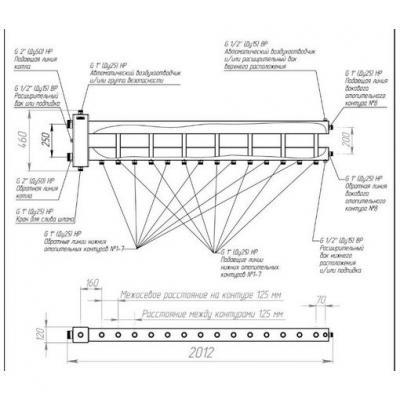 """Коллектор отопления с гидрострелкой Gidruss BMSS-250-8D из нержавеющей стали  (250 кВт, 8 контуров, вход G 2"""" НР, выход 1'' НР Межосевое расстояние 125 мм)"""