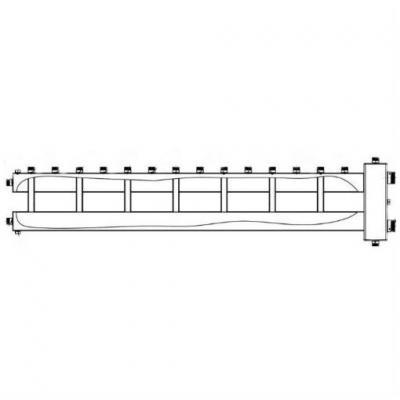 Гидрострелка с коллектором на 8 конутров из нержавеющей стали (7 вверх, 1 боковой), вход 2