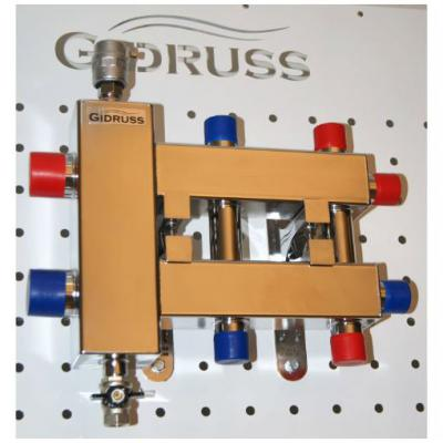 Гидрострелка с коллектором на 3 контура из нержавеющей стали (1 вверх, 1 вниз, 1 боковой), вход 1 1/4, выходы 1