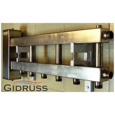 Гидрострелка с коллектором на4 контура из нержавеющей стали (3 вниз, 1 боковой), вход 1 1/4, выходы 1