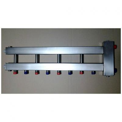 Гидрострелка с коллектором на5 контуров из нержавеющей стали (4 вниз, 1 боковой), вход 1 1/4, выходы 1