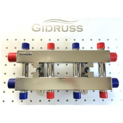 Модульный коллектор отопления Gidruss MKSS-60-5DU (без гидрострелки, 5 контуров G 1'')