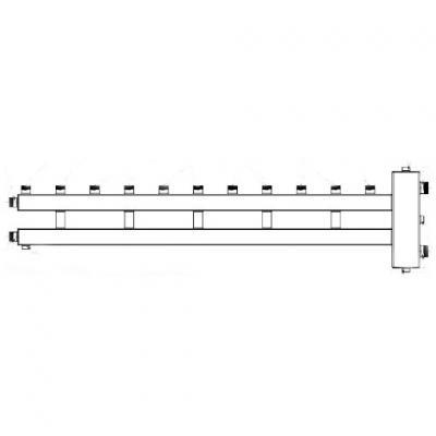 """Гидрострелка с коллектором на 6 контуров (5 вверх, 1 боковой), вход 1 1/4, выходы 1"""", до 100 кВт"""
