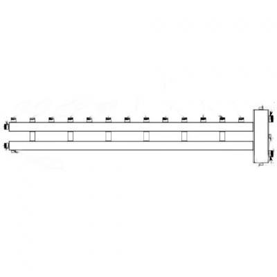 Гидрострелка с коллектором на 7 контуров (6 вверх, 1 боковой), вход 1 1/4, выходы 1