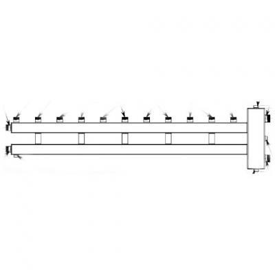Гидрострелка с коллектором на 6 контуров (5 вверх, 1 боковой), вход 1 1/2