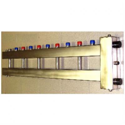 Гидрострелка с коллектором на 6 контуров из нержавеющей стали (5 вверх, 1 боковой), вход 1 1/2
