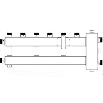 """Гидрострелка с коллектором на 4 контура (3 вверх, 1 боковой), вход 1 1/4, выходы 1"""", до 100 кВт"""