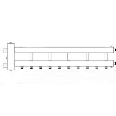 Гидрострелка с коллектором на 6 контуров (5 вниз, 1 боковой), вход 1 1/4, выходы 1