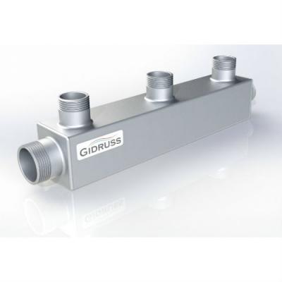 Распределительный коллектор Gidruss DMSS-25-20x3 из нержавеющей стали (вход G 1
