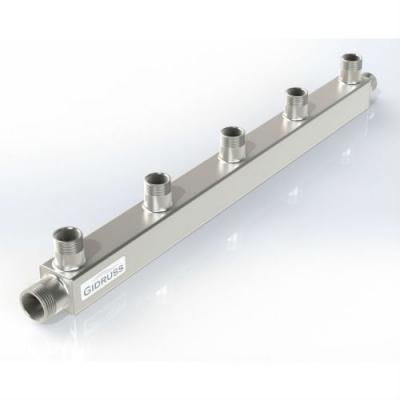 Распределительный коллектор Gidruss DMSS-25-20x5 из нержавеющей стали (вход G 1