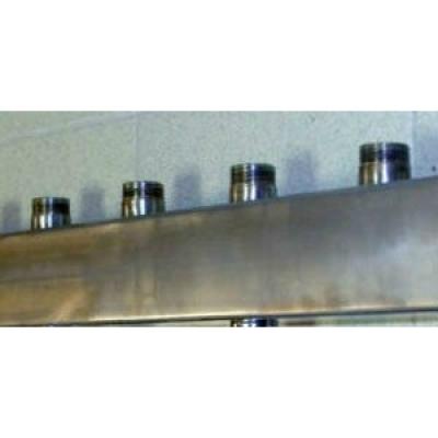 """Распределительный коллектор Gidruss DMSS-25-20x4 из нержавеющей стали (вход G 1"""", Транзитный выход 1"""", 4 контура 3/4"""")"""
