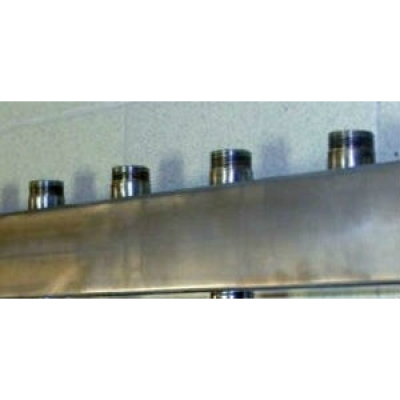 """Распределительный коллектор Gidruss DMSS-32-25x3 из нержавеющей стали (вход G 1 1/4"""", Транзитный выход 1 1/4"""", 3 контура 1"""")"""