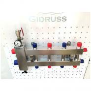 Коллектор отопления с гидрострелкой GidrussBMSS-60-5DU из нержавеющей стали (до 60 кВт, 5 контуров вход G 1 1/4'' НР, выход G 1'' НР' НР Межосевое расстояние 125 мм)