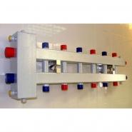 """Гидрострелка с коллектором на 7 контуров (3 вниз, 3 вверх, 1 боковой), вход 1 1/4, выходы 1"""", до 100 кВт"""