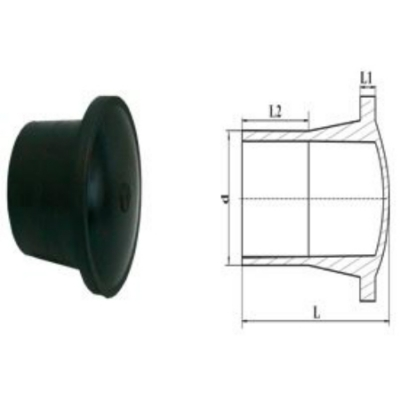Заглушка литая удлиненная d 90 пэ 100 sdr 13,6